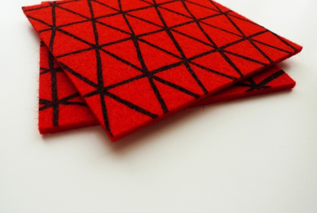 Cotton & Flax red triangles coasters