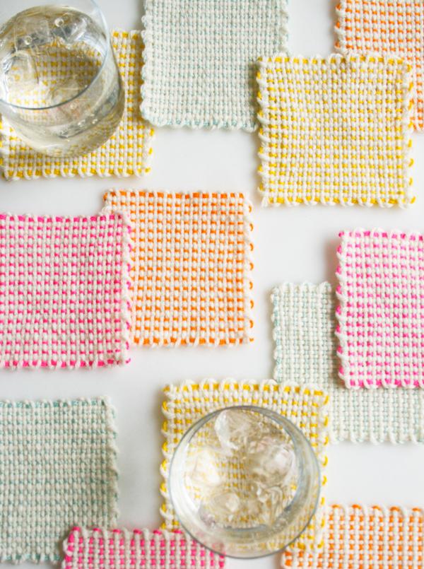 Purl Bee pin-loom-coasters