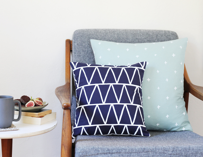 blue triangle pillow small