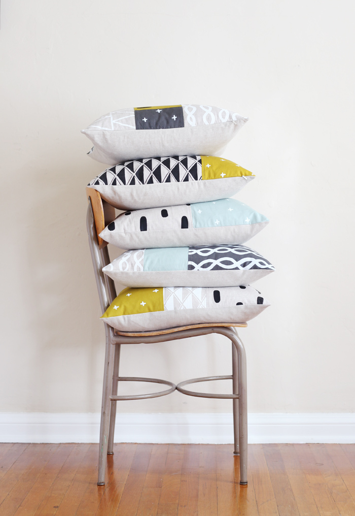 stacked patchwork pillows
