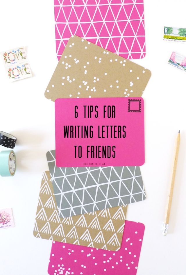 Tips for writing to friends from Cotton & Flax