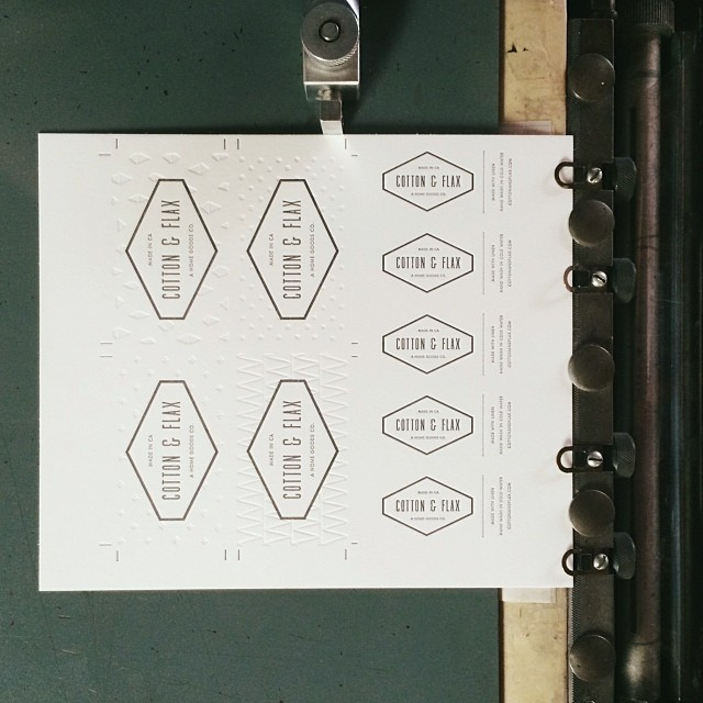 Cotton & Flax business cards on press